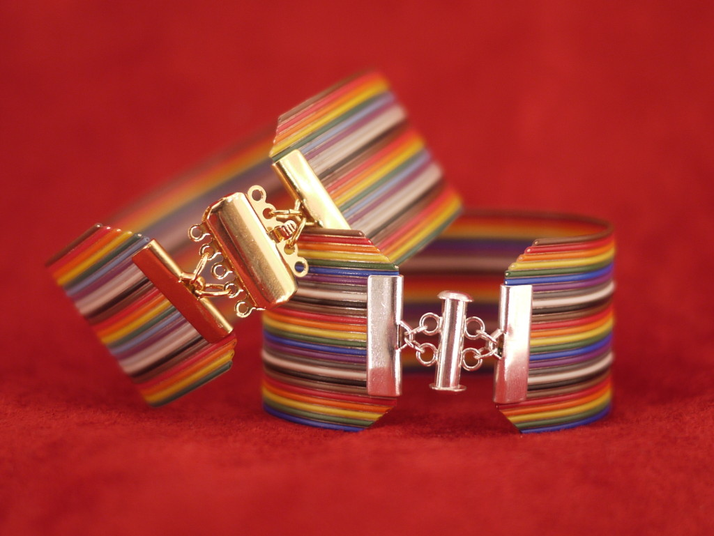 """1 1/4"""" wide ribbon wire bracelet"""